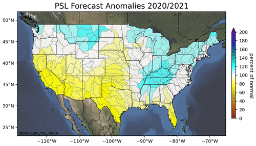 PSL Forecast Anomalies 2020 to 2021