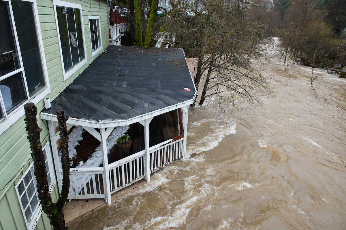 Lefty's Grill in Nevada City, Calif. had to close due to flooding from Deer Creek, which drains to the Yuba River, during the atmospheric river event across Northern California on January 10, 2017.