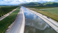 Aerial view of a stretch of the California Aqueduct in Kern County.