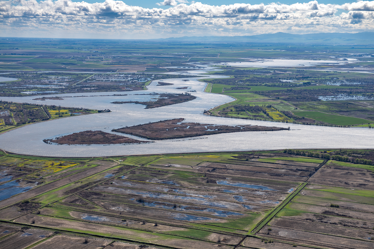 Aerial view of the Sacramento - San Joaquin Delta, looking east along the San Joaquin River.