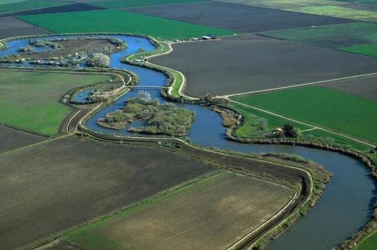Aerial photo of the San Joaquin Delta.