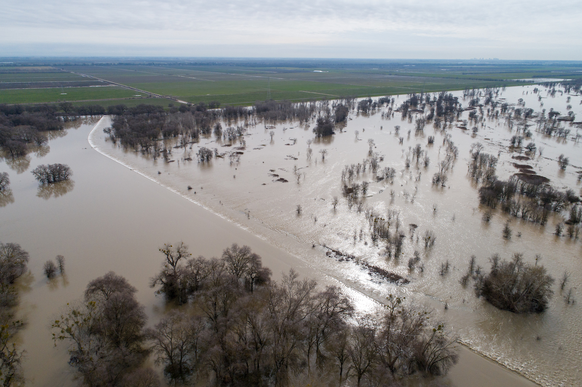 A drone view of floodwaters from the Sacramento River overtopping the Fremont Weir in Yolo County, California.