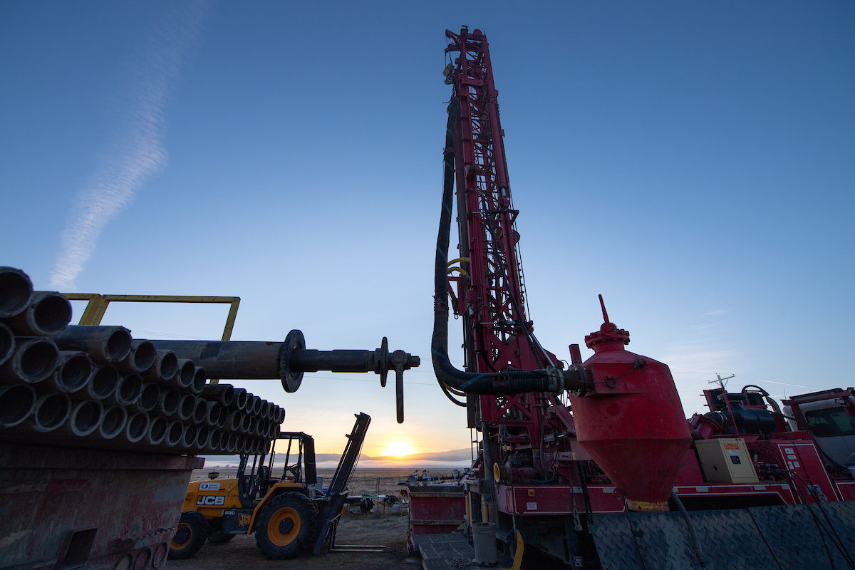 A drilling rig continues work on a monitoring well as part of the Sustainable Groundwater Management Act (SGMA).