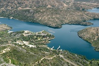 Aerial view looks northwest toward Silverwood Lake and Silverwood Lake Marina.