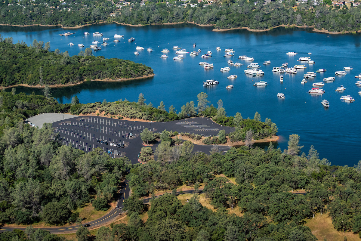 An aerial view of Loafer Creek Boat Ramp and parking lot.
