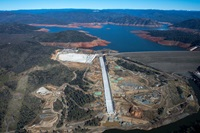 Aerial view of the recently completed Lake Oroville main spillway in January 2019..