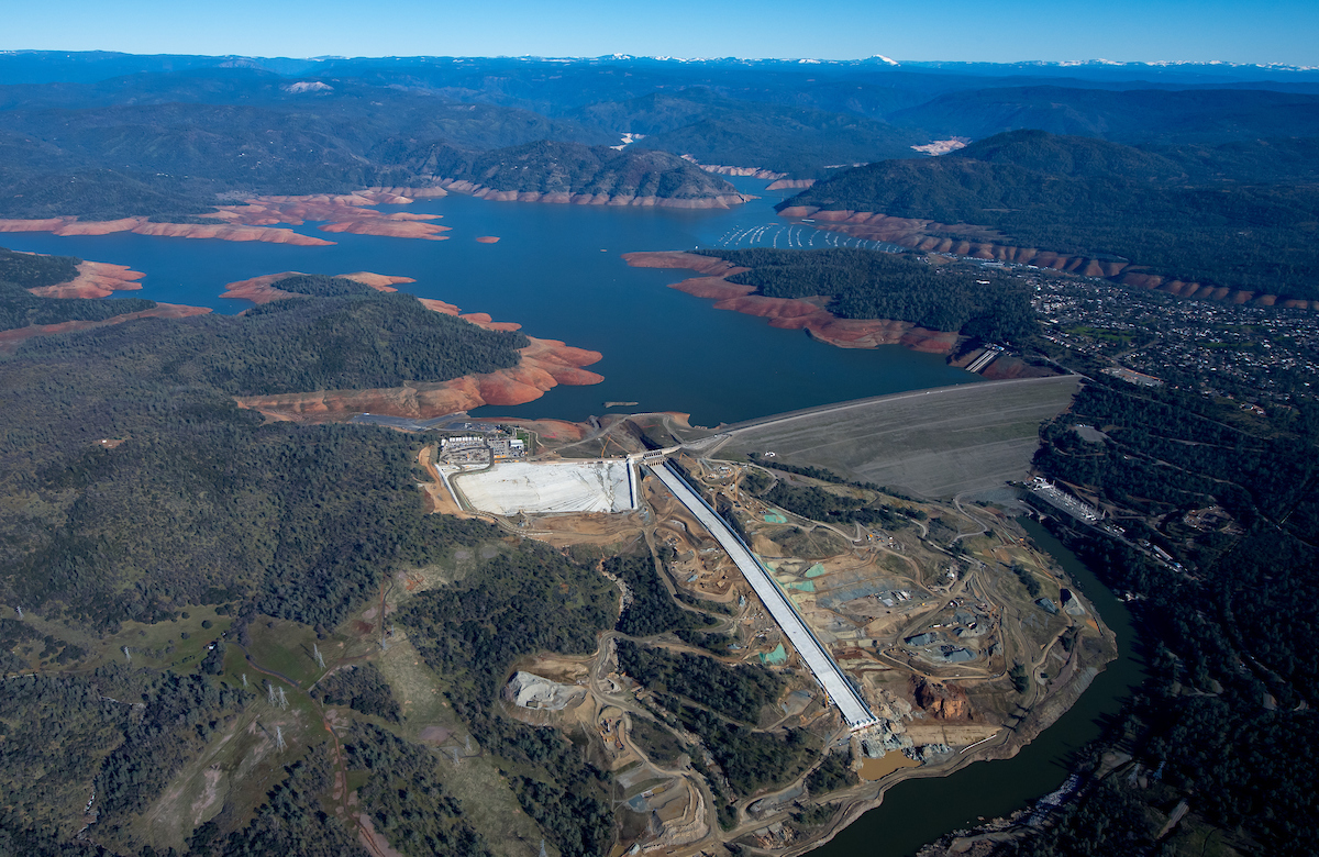 An aerial overview of the recently completed Lake Oroville main spillway during Phase 2 of the recovery efforts.