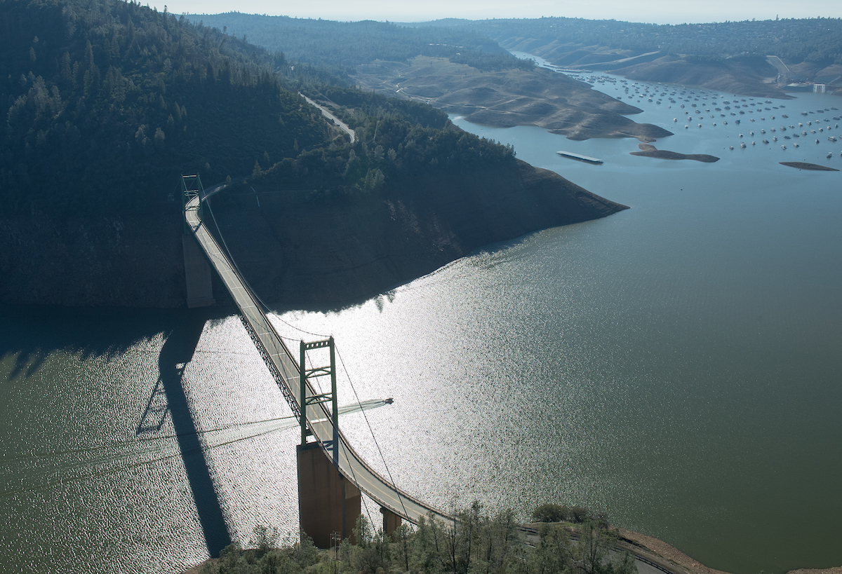 Aerial view of Bidwell Bar Bridge at Lake Oroville.