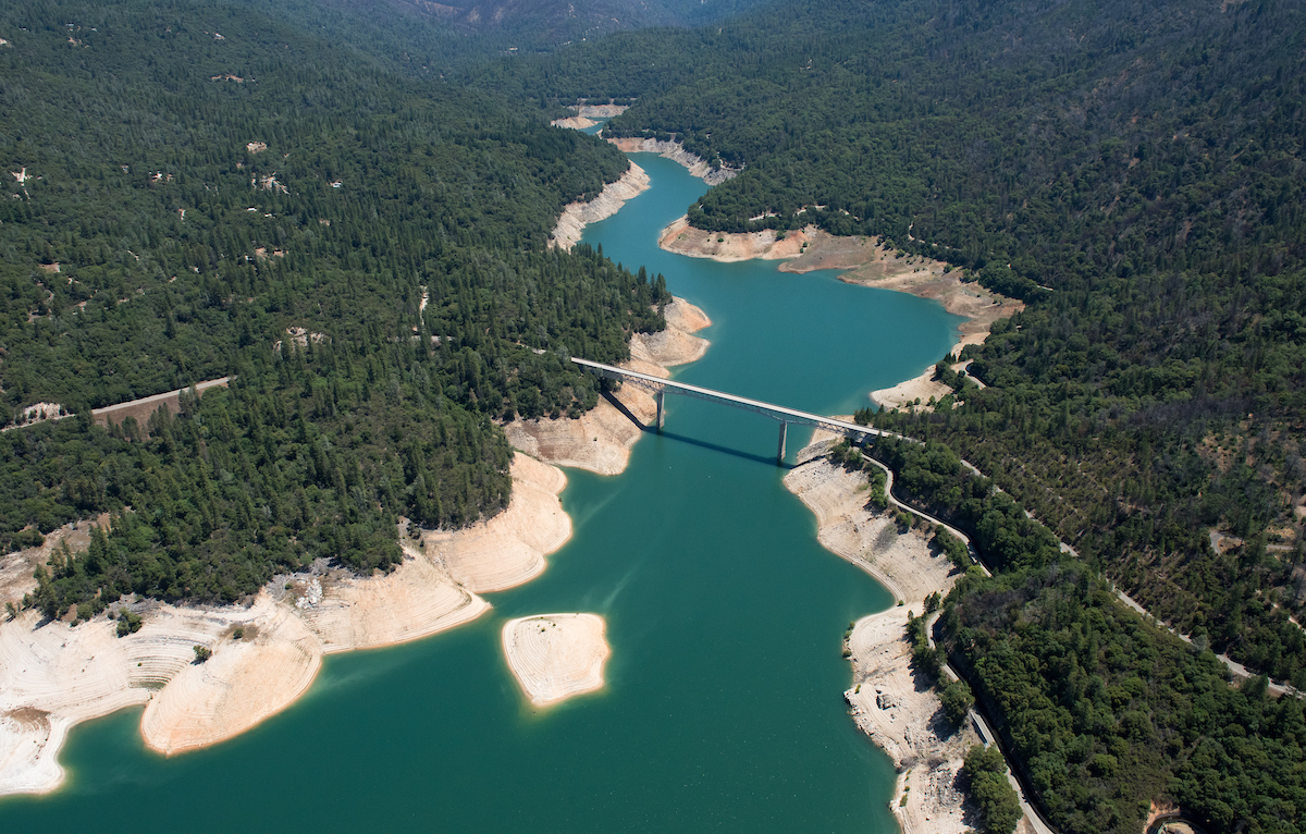 Aerial view of Enterprise Bridge at Lake Oroville