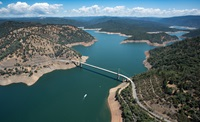 An aerial view of Bidwell Bar Bridge at Lake Oroville.