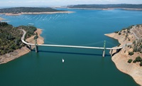 An aerial view of Bidwell Bar Bridge at Lake Oroville