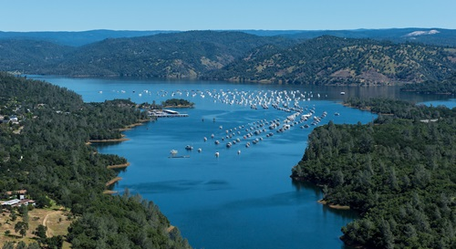 An aerial picture of Lake Oroville