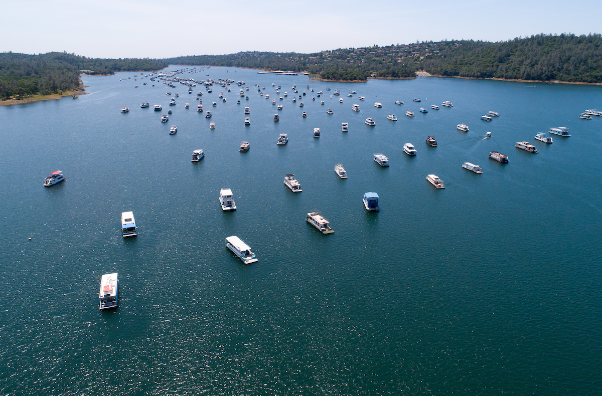 An aerial drone view of the Bidwell Canyon Marina showing Lake Oroville at an elevation of 887 feet, or 94 percent of total capacity, on May 6, 2019.