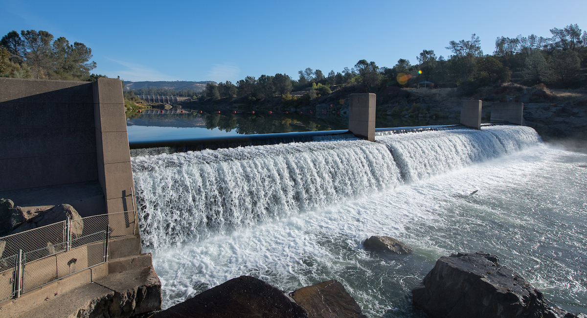 The Feather River Fish Barrier Dam forces fish to take the fish ladder on the left side at the Feather River Fish Hatchery in Oroville