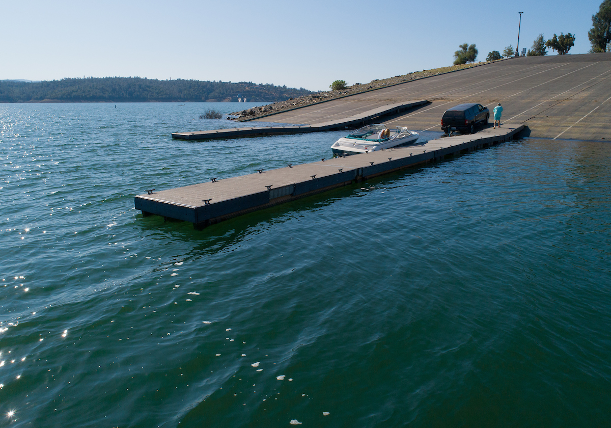 Boaters utilize the Oroville Dam Spillway Boat Ramp.