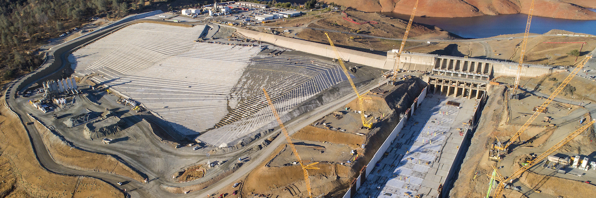 The Oroville main spillway and emergency spillway.