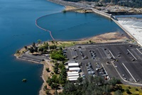 An aerial overview of the Lake Oroville spillway boat ramp and parking lot east of the emergency spillway at the Butte County, California site.