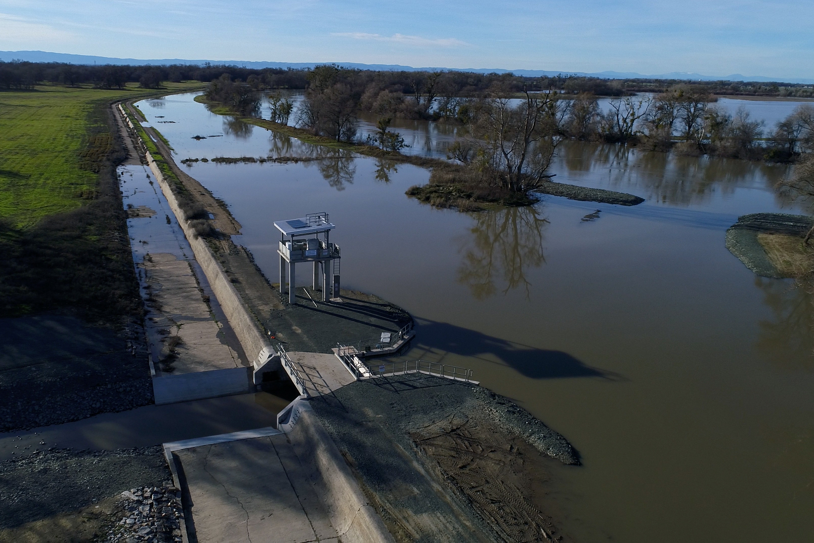 View of Fremont Weir in the Yolo Bypass.