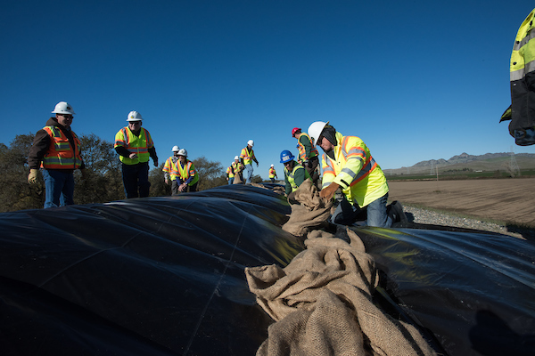 DWR employees participate in flood fighting training