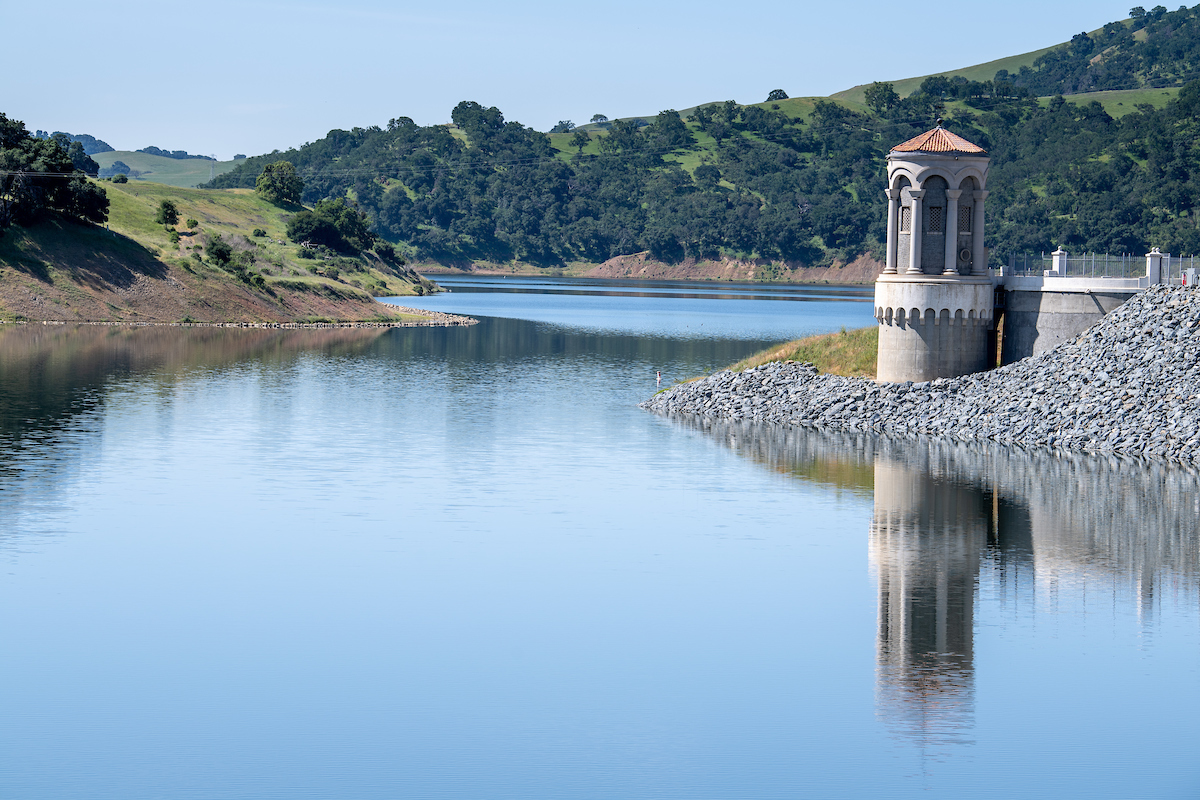 iew of the newly completed Calaveras Dam, towards the intake tower, near Milpitas.