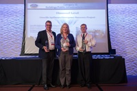 "(Left to Right) President of Paradyne Consulting Jon Swartzentruber, Chief of DWR's Division of Engineering (DOE) Jeanne Kuttel and Chief of DOE's Construction Branch Paul Strusinksi receive award on May 17 for Partnered Project of the Year Award for the Oroville Spillways Emergency Recovery project."")"