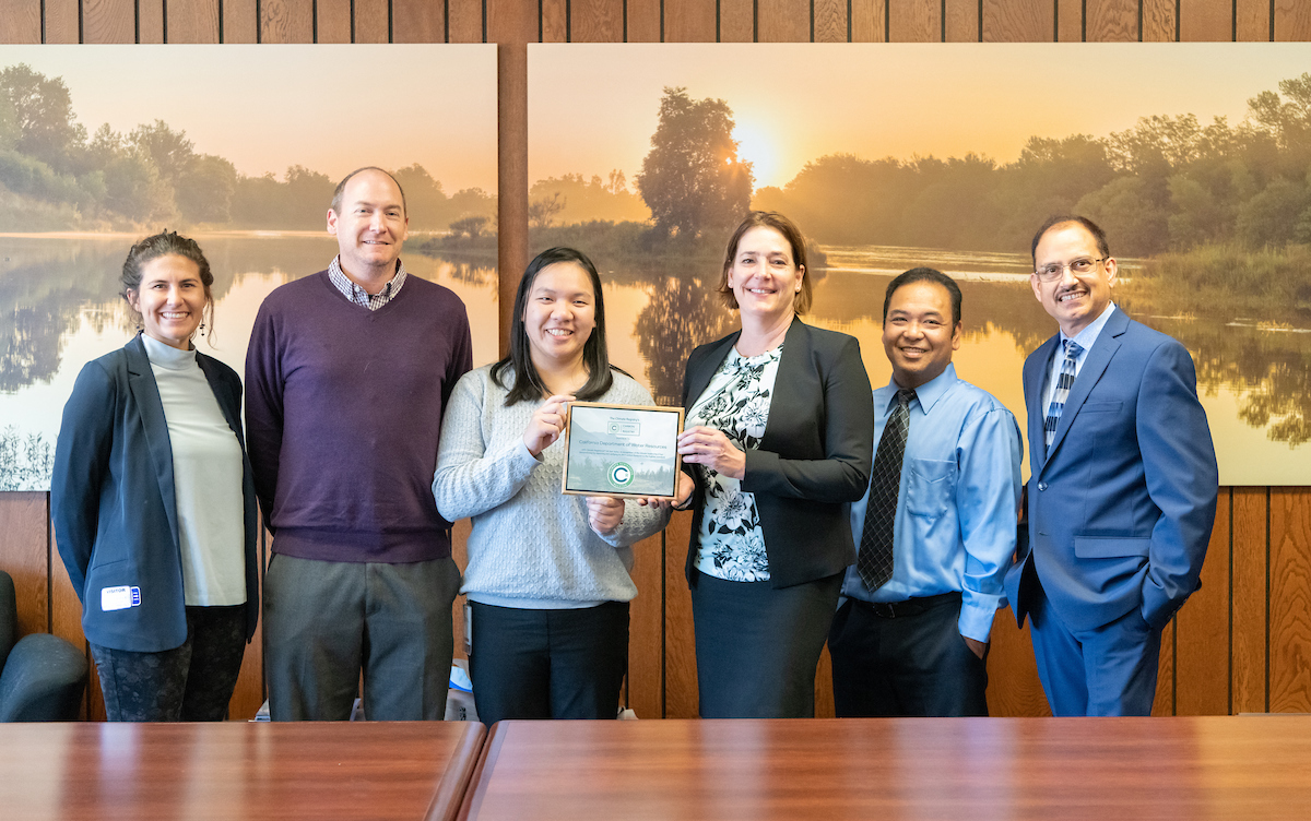 The Climate Registry presents DWR staff with Climate Registered All Star status in recognition of its leadership in reducing greenhouse gas emissions.