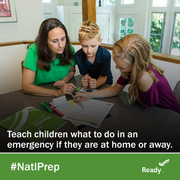 Children prepare for flood emergency by developing an emergency plan with adult. Graphic text: Teach children what to do in an emergency if they are at home or away.