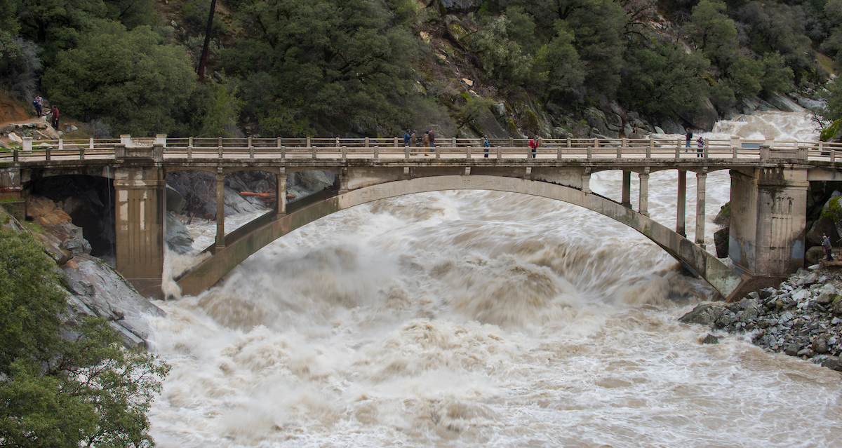 Old Route 49 bridge crossing over the South Yuba River in Nevada City, Calif. saw local and regional visitors during the atmospheric river event across Northern California on January 9, 2017.