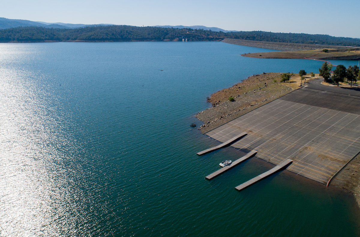 A drone provides a view of boaters utilizing the newly opened Oroville Dam Spillway Boat Ramp in Butte County, California. The California State Recreation Area's spillway boat ramp area, including multi-use trails, are open to the public Friday through Sunday from 5 a.m. to 11 p.m. The area will remain closed Monday through Thursday to accommodate ongoing construction. Photo taken August 16, 2019.