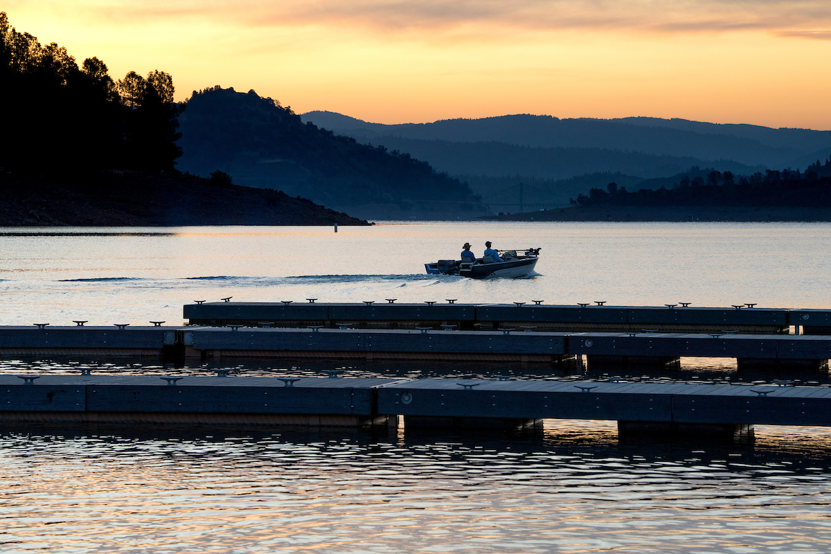 Boaters on the Oroville Dam Spillway Boat Ramp.