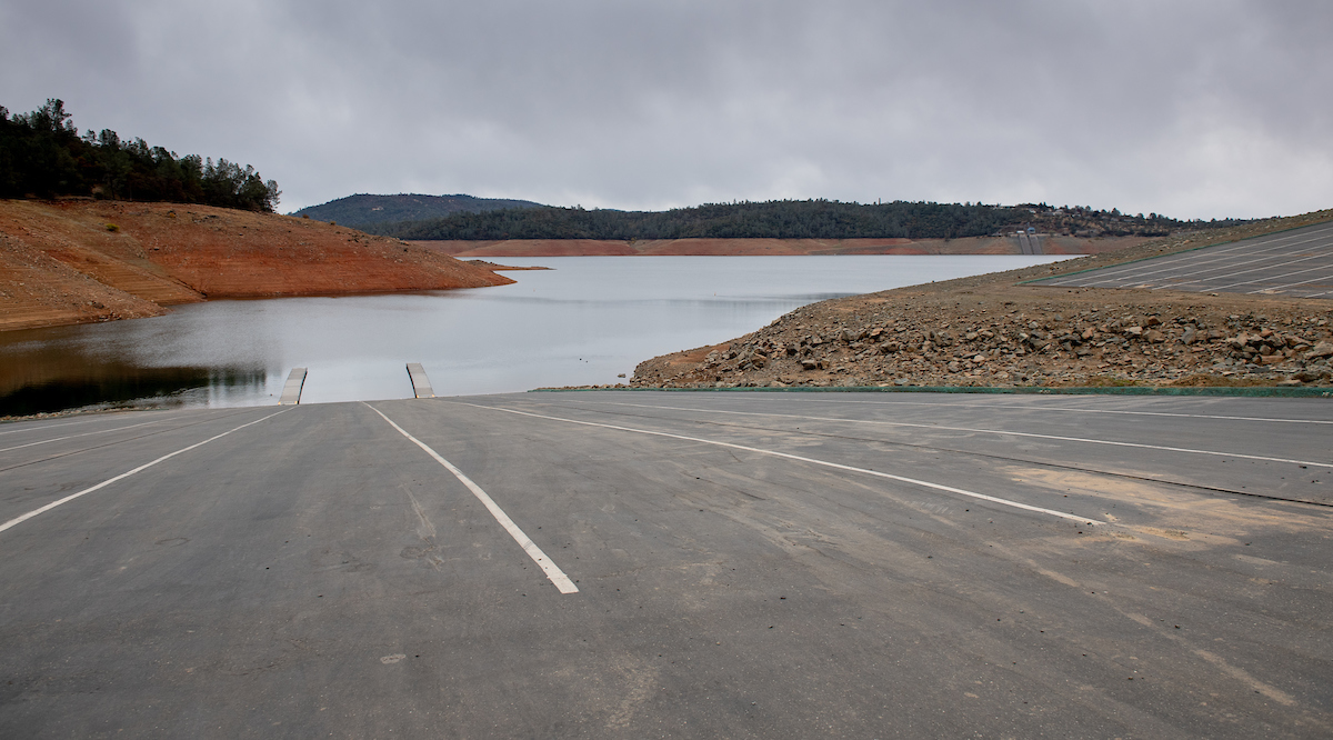 A view of Oroville's Spillway Boat Ramp as a rainstorm approaches.