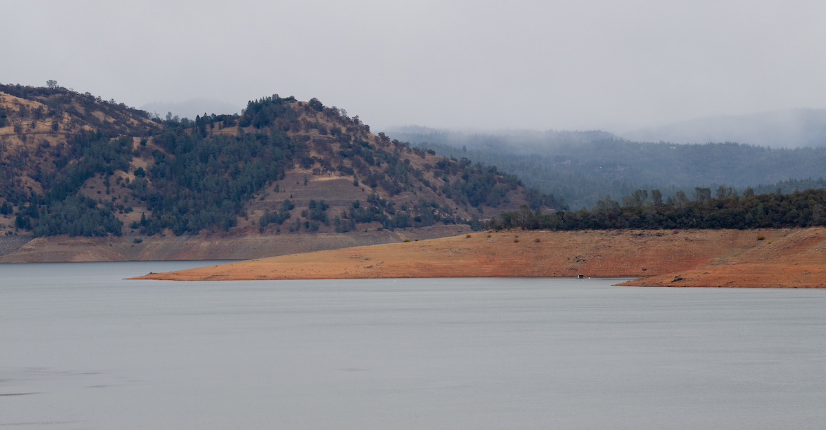 A view of Lake Oroville as a rain storm rolls in.