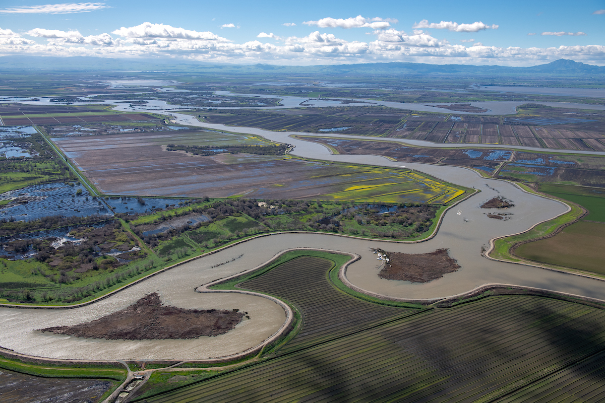 An aerial view looks southwest over the White Slough and the Empire Tract in the Sacramento-San Joaquin River Delta in San Joaquin County, California.