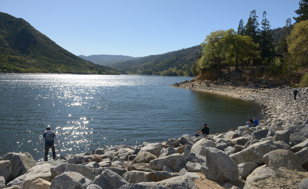A day of fishing on the shoreline of Silverwood Lake part of the Eastern Branch of the California State Water Project in San Bernardino County.