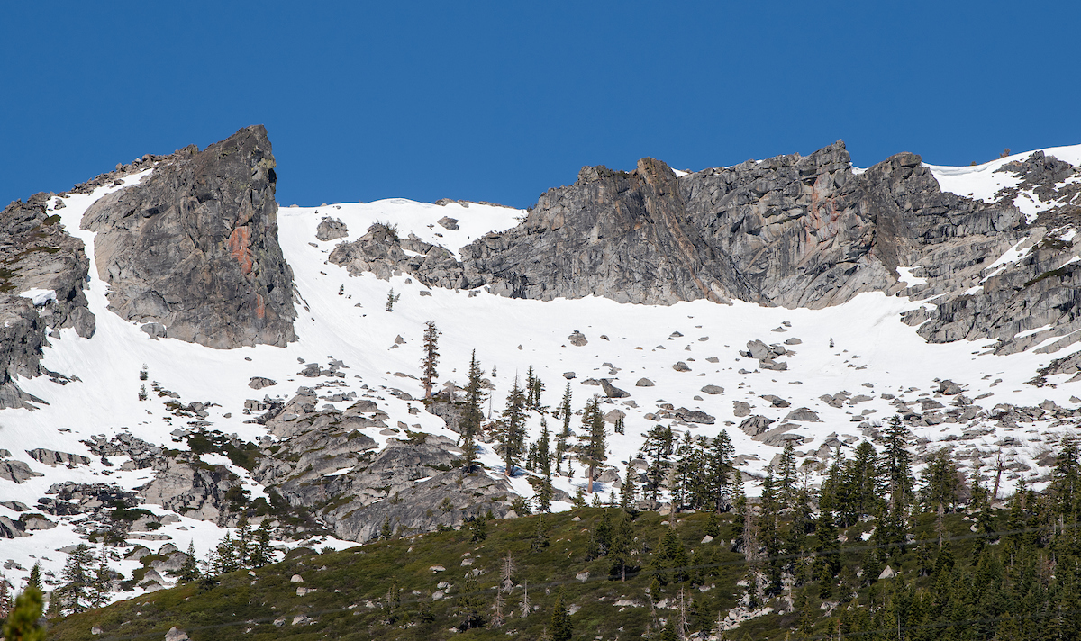 Sierra Nevada Mountains with snow -- photo taken April 30, 2020