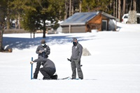DWR staff at the third snow survey of 2021 at Phillips Station, Calif.