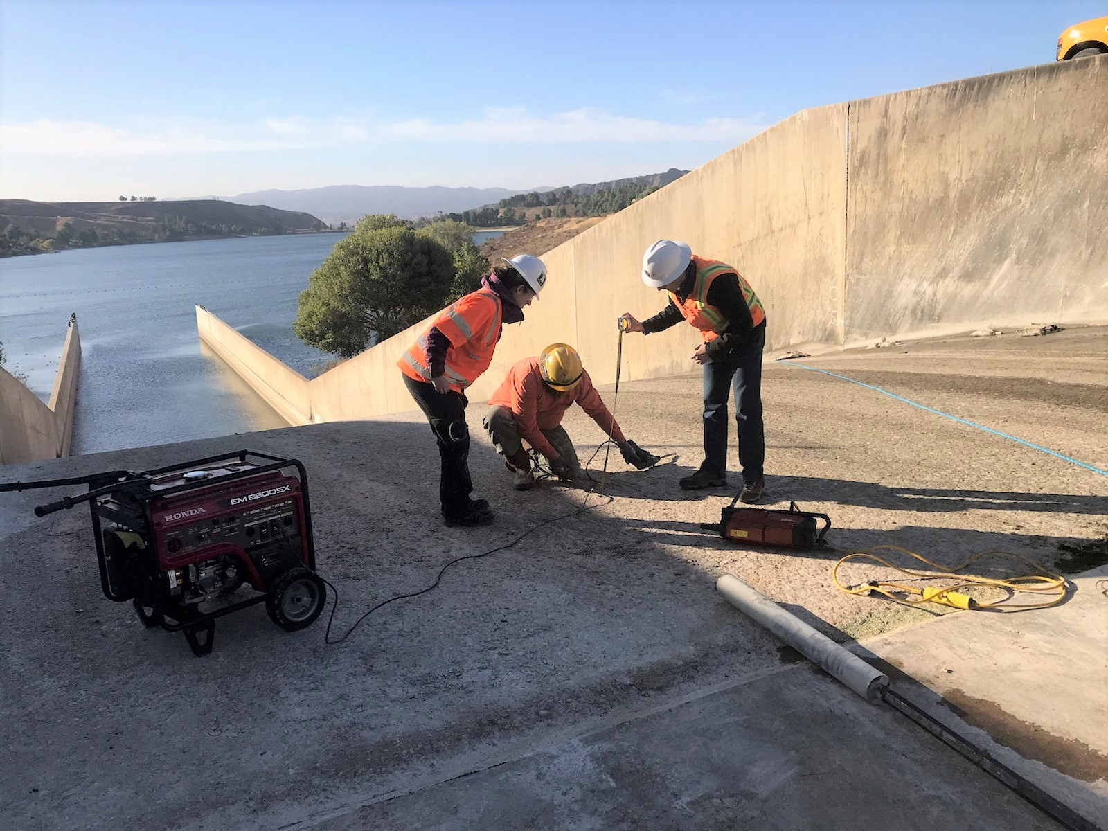 Photo of the Castaic Dam stream release chute assessment work