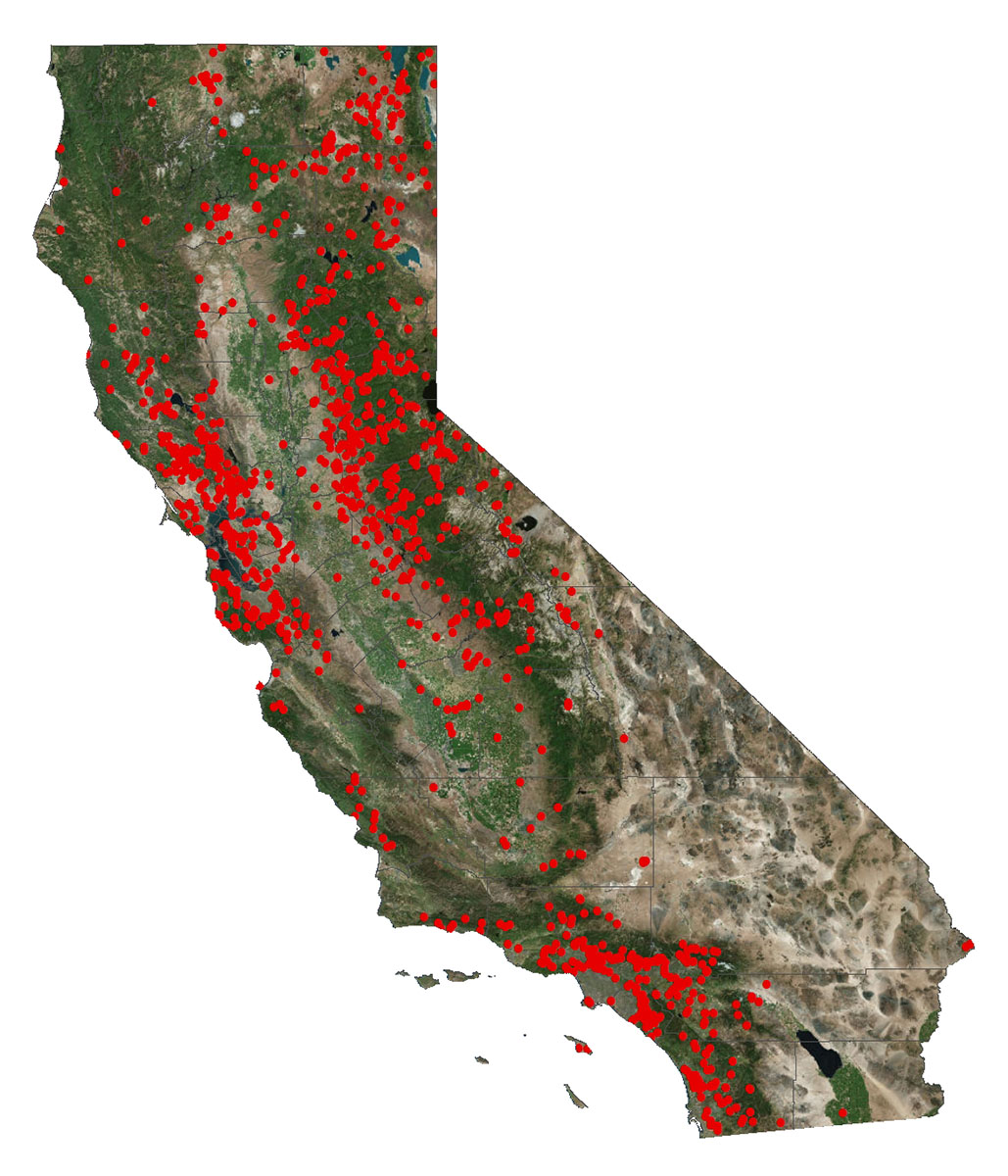 A map of the State of California with red dots marking the location of jurisdictional dams. For additional information, call 916-565-7868