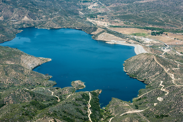 Aerial view of Silverwood Lake.