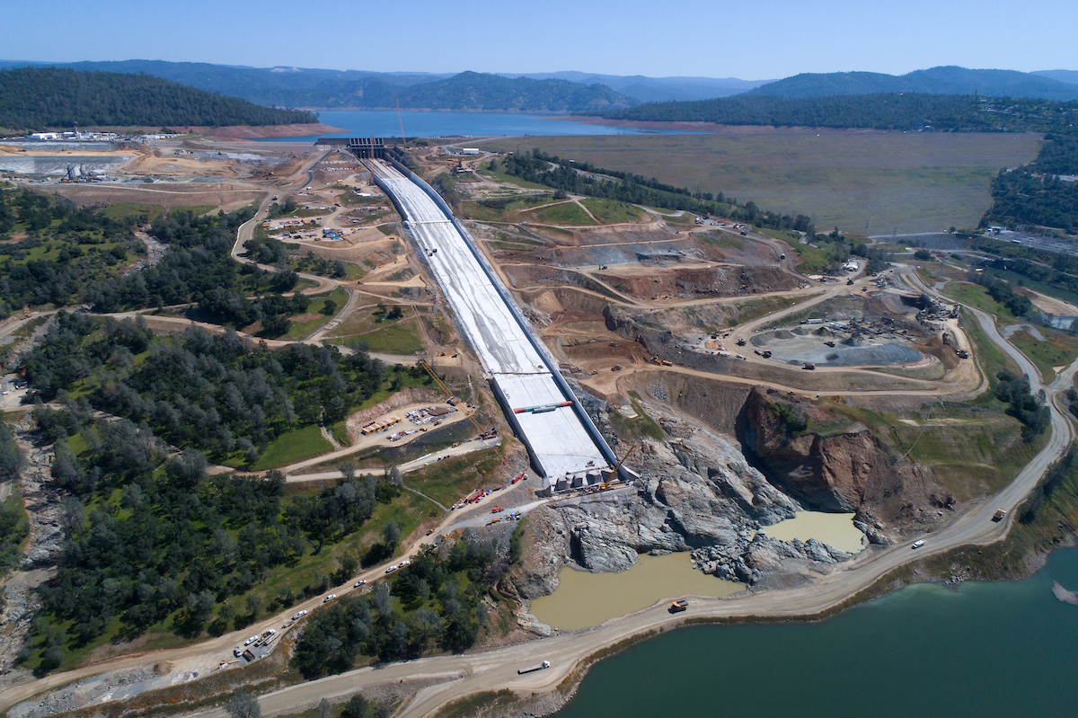 Drone view of the Lake Oroville main spillway on April 25, 2018.
