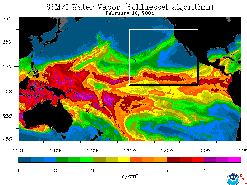Map showing atmospheric river delivering water to California. Contact climatechange@water.ca.gov for more information.