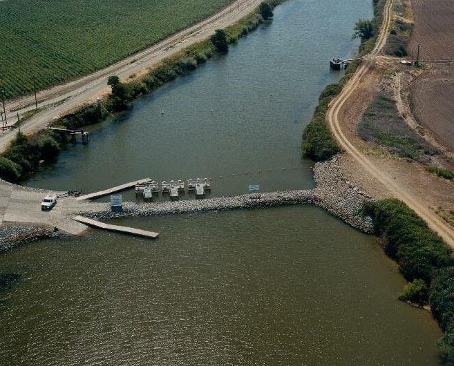Agricultural barrier on Old River near Tracy
