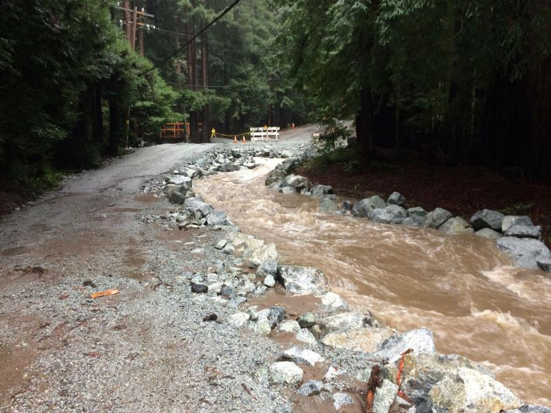 Flooding on Rocky Creek in Monterey County in 2017