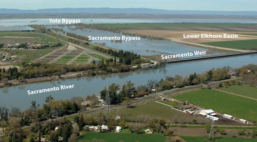 Picture of Lower Elkhorn Basin, Sacramento Weir and Bypass, Sacramento River, and Yolo Bypass