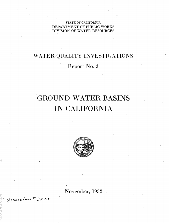 Water Quality Investigations Report 1952 PDF
