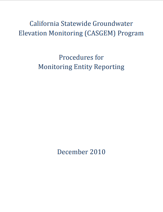 CASGEM ME Reporting Procedures
