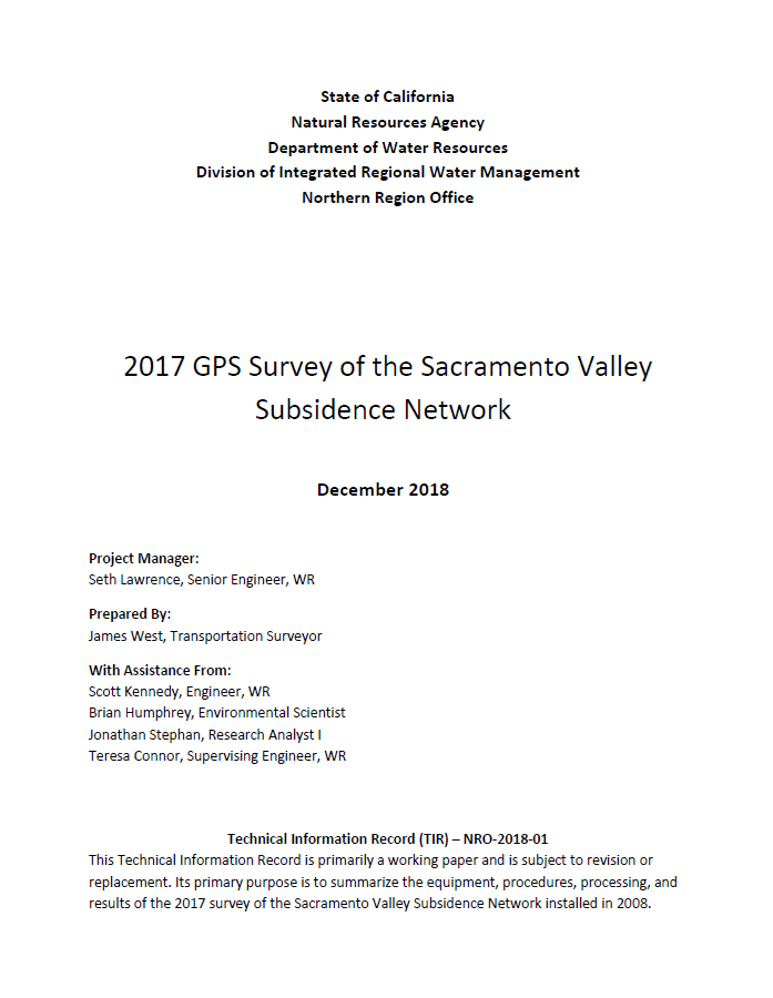 2017 GPS Survey of the Sacramento Valley Subsidence Network