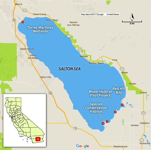 Salton Sea map showing project locations. Contact DWR if you need more information about this map.