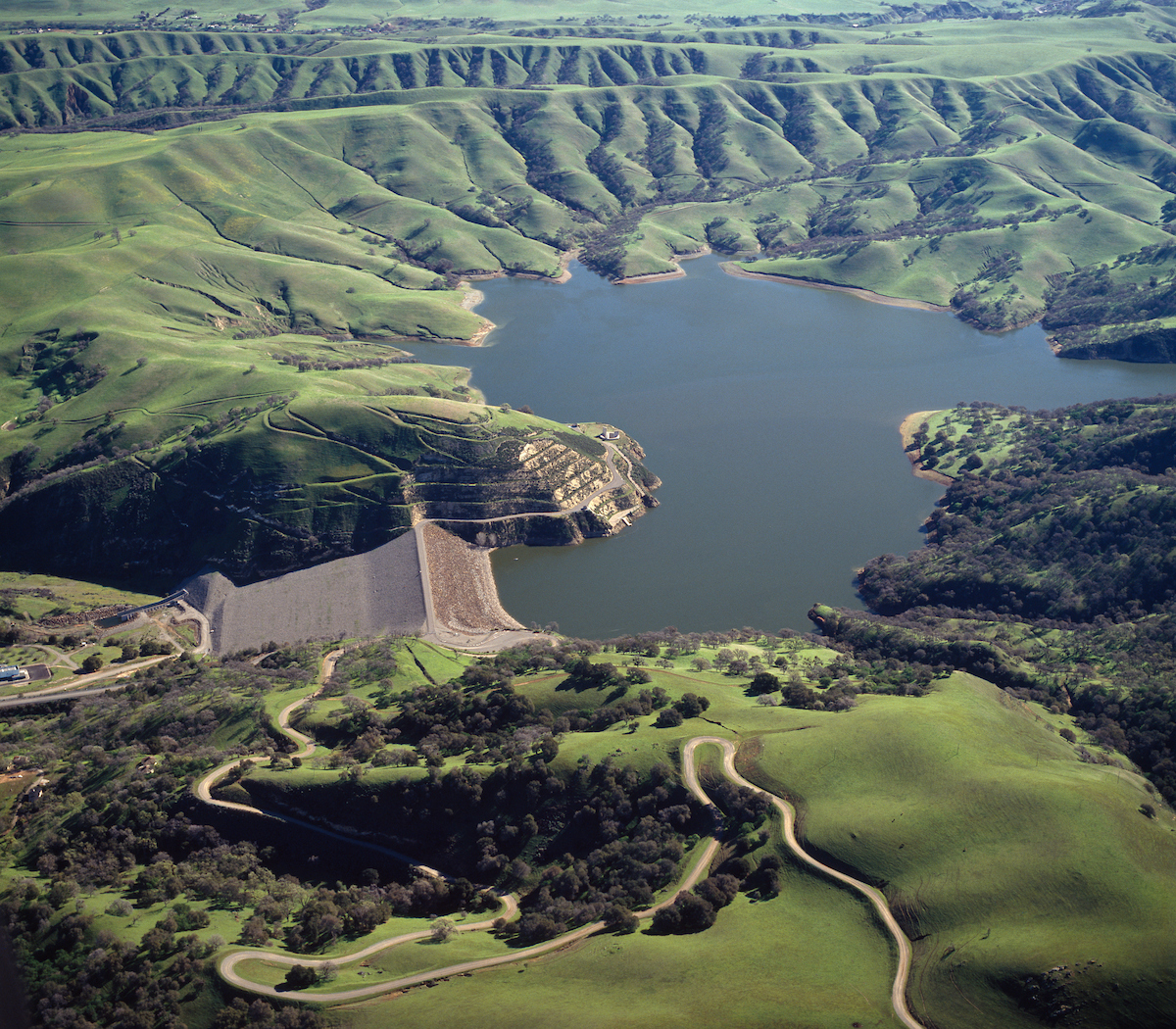 Aerial view of Del Valle Dam and Lake Del Valle.