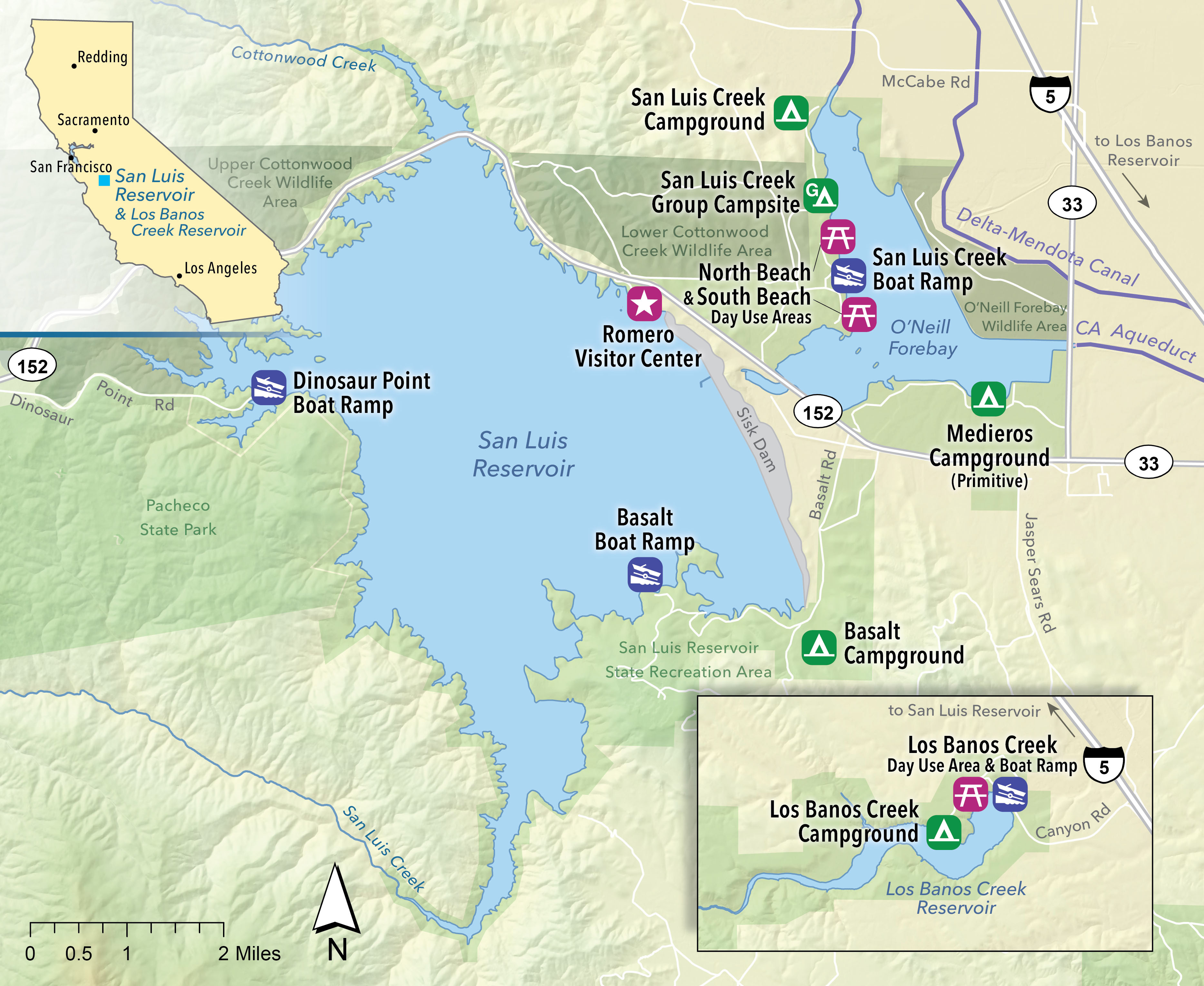 San Luis Recreation map showing visitor center, campgrounds, picnic areas, boat launch, and other areas. If you need further assistance call (916) 653-5791 or email accessibility@water.ca.gov